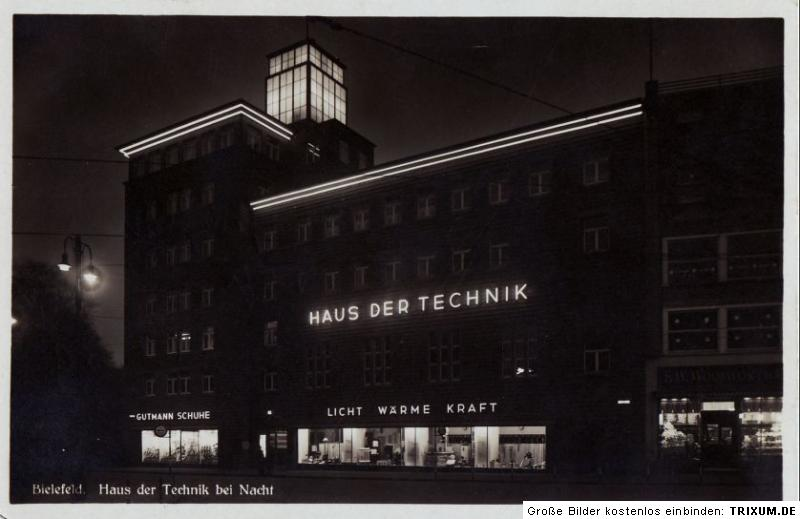 orign foto bielefeld haus der technik bei nacht 1930 ebay. Black Bedroom Furniture Sets. Home Design Ideas