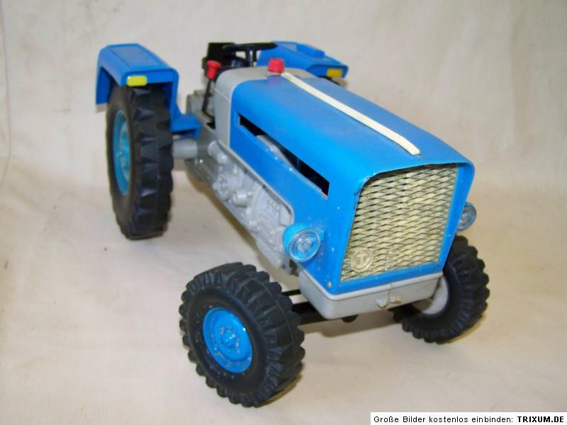 Ddr spielzeug traktor blau zt mit hänger ebay