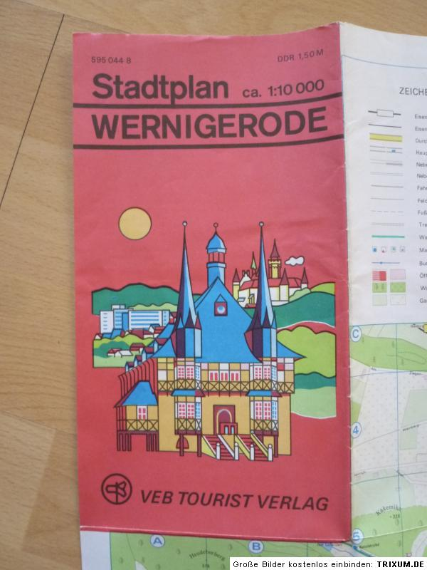 alter stadtplan wernigerode tourist verlag ddr 1977 ebay. Black Bedroom Furniture Sets. Home Design Ideas